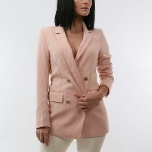 H&M Rose Pink Button Down Blazer Jacket Size 4